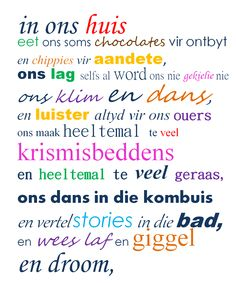 Afrikaanse quotes: house rules geraam in 'n mooi ou houtraam.