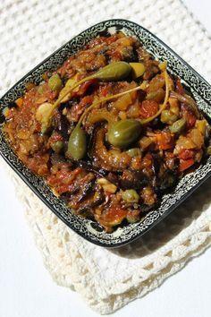 Caponata de berinjela no siciliano Sicilian Caponata Recipe, Antipasto, Appetizer Recipes, Dinner Recipes, Soup Appetizers, Vegetarian Recipes, Healthy Recipes, Moussaka, Relleno