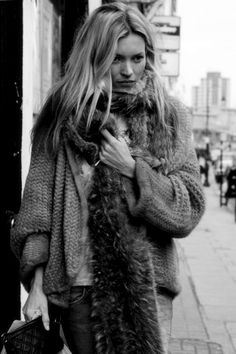 Kate Moss wraps up in layers upon layers of nonchalence for a New York winter. I try for the same vibe with some of mom's old pieces.