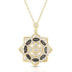 Eloquence 14k Gold 1/2ct TDW Black and White Diamond Sunburst Pendant