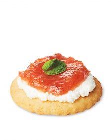 Rhubarb Marmalade, Ricotta, and Mint on Corn Crackers - Appetizers - Martha Stewart Weddings