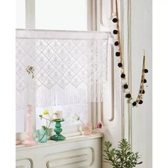 "24""x41"" Macrame Sheer Window Valance White - Opalhouse™ : Target"
