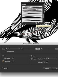 Lino-cut style Illustrator brushes