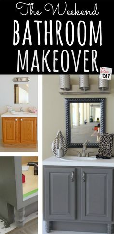 Create the bathroom of your dreams with an inexpensive weekend bathroom makeover Create the bathroom remodel of your dreams with an inexpensive bathroom makeover! Easily completed in a weekend with these 4 DIY bathroom ideas on a budget! Bad Inspiration, Bathroom Inspiration, Home Renovation, Home Remodeling, Bathroom Renovations, Bathroom Makeovers On A Budget, Bathroom Decor Ideas On A Budget, Remodel Bathroom, Inexpensive Bathroom Remodel