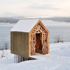 The Freya and Robin Pavilion by UK-based architecture company Studio Weave built in the Kielder Water and Forest Park by greentinyhouse Architecture Design, Architecture Awards, Gothic Architecture, Amazing Architecture, Mobile Architecture, Architecture Company, Pavilion Architecture, Landscape Architecture, Snow Cabin