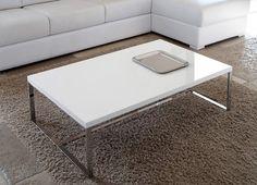 Wohnzimmer kleinen Tischen TABELLE C-SUSHI - Sushi-c: MDF, 24 kg - 0,12 bis 1 m x box / 2 Boxen. Rechteckiger Couchtisch misst 110x70 cm, Höhe 32 cm. Struktur aus verchromtem Metall. Der Plan ist in strahlendem Weiß lackierten MDF erhältlich.