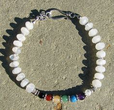 Gemstone Chakra Anklet or Plus Size Bracelet by BonesandStone, $25.00