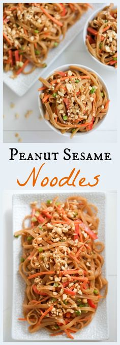 FOOD - Peanut Sesame Noodles and Veggies. These peanut sesame noodles are ready in less time than it takes to order takeout (only 10 minutes!). Bonus: they include a good portion of fresh veggies! http://www.superhealthykids.com/peanut-sesame-noodles-recipe/