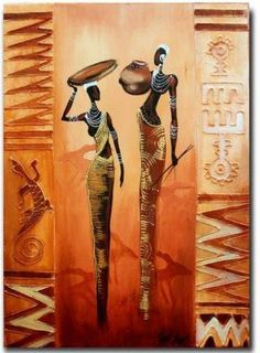 African art paintings - African theme for decoupage Catalog of ideas – African art paintings African Colors, African Theme, Arte Tribal, Tribal Art, African Art Paintings, African American Artist, American Artists, Africa Art, Yellow Art