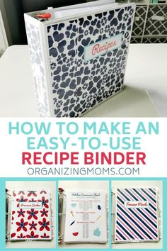 Organize all of your recipes TODAY by making this simple recipe binder. Make everything easy to find so you can save time and enjoy more of your favorite recipes. Source by organizingmoms Diy Organizer, Binder Organization, Recipe Organization, Kitchen Organization, Kitchen Storage, Organizing Tips, Organizing Your Home, Cleaning Hacks, Family Recipe Book