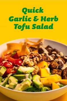 When you live plantspired, you live in a world where salads are the way they should be – plant based. Tofu Salad, Tofu Dishes, Tofu Recipes, Fresh Garlic, Salad Dressing, Cherry Tomatoes, Lettuce, Salads, Herbs