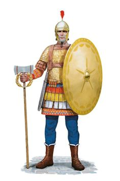 Imperial guardsman (Excubitor) from Constantinople in the Century CE by Tom Croft Roman History, European History, American History, Ancient Egyptian Art, Ancient Aliens, Ancient Greece, Byzantine Army, Character Art, Character Design