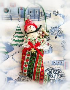 Snowman Ornament Sparkle Snowman in Stocking by CharlotteStyle Snow Men, Snowman Ornaments, Advent Calendar, Christmas Stockings, Sparkle, Holiday Decor, Unique Jewelry, Handmade Gifts, Vintage