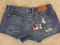 Lucky Brand Daisy Duke Shorts Size 12 Made In USA Button Fly Have A Nice Day #Lucky #Denim