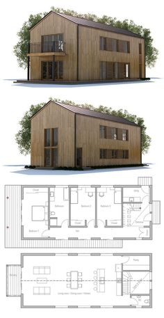 Small House Plan, Small House Designs, Home Plans, Architecture Narrow House Designs, Narrow House Plans, Barn House Plans, Dream House Plans, Modern House Plans, House Floor Plans, Long House, Dream House Exterior, Sims House