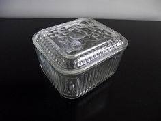 Vintage Glass Refrigerator Storage Container Trinket Jewelry Box with Lid Cover 1950s