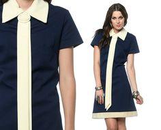 Mod Mini Dress 60s Tie Neck Collar Navy Blue Cream 1960s Shift Ascot Space Age Vintage Sixties Twiggy Short Sleeve Sixties Extra Large L XL