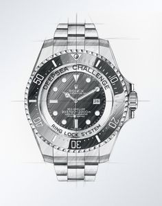 Rolex Deepsea Challenge - Rolex et l'exploration - watch repair, buy men watches online, silver watch men *ad Copic, Lock System, Clock Drawings, Watch Drawing, Diesel Watch, Sea Dweller, Industrial Design Sketch, Seiko Watches, Sketch Design