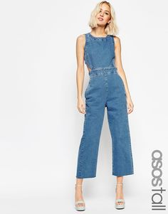 ASOS TALL Denim Wide Leg Cut Out Jumpsuit In Pretty Vintage Wash