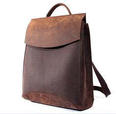 Vintage Casual Handmade 100% Genuine Crazy Horse Leather Cowhide Men Women Travel Backpack Shoulder Bag Bags Backpacks For Man