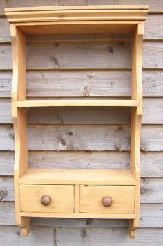 Pine Storage Solutions : Pine Wall Units Open Back : Pine Wall Unit - 2 Shelf Open Back with Drawers