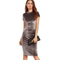 [EBay] Colrovie Velvet Sheath Dress Office Ladies Round Neck Slim Pencil Dress Work Wear Knee Length Dress