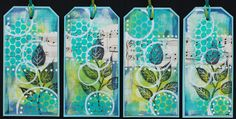 https://flic.kr/p/wUNH6J | Art Tags - Black Leaves with Aqua | Art tags made from re-purposed file folders, acrylic paint, and rubber stamped images.