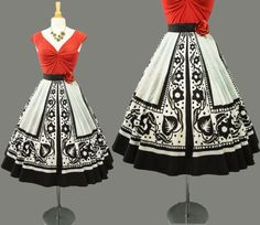 Vintage 1950s - 50s LAVABLE Mexican Hand Painted Novelty Full Circle SKIRT Rockabilly Floral Dress PinUp Black & White  Medium - M Large - L   I had one just like this in turquoise and black. i sure wish i still had it...
