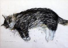 Elizabeth Blackadder (1931)  pastel,  Sleeping cat,  signed,  16 x 23in.