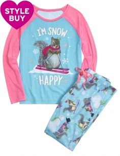 SIZE 8  Skiing Squirrel Pajama Set