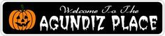 AGUNDIZ PLACE Lastname Halloween Sign - Welcome to Scary Decor, Autumn, Aluminum - 4 x 18 Inches by The Lizton Sign Shop. $12.99. Rounded Corners. Great Gift Idea. Aluminum Brand New Sign. Predrillied for Hanging. 4 x 18 Inches. AGUNDIZ PLACE Lastname Halloween Sign - Welcome to Scary Decor, Autumn, Aluminum 4 x 18 Inches - Aluminum personalized brand new sign for your Autumn and Halloween Decor. Made of aluminum and high quality lettering and graphics. Made to last for years ou...