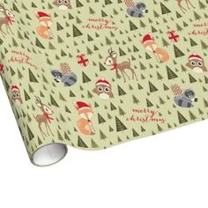 Woodland Friends Pattern Christmas Gift Wrap // By Origami Prints #holiday #wrapping #paper #fox #reindeer #owl #raccoon #forest