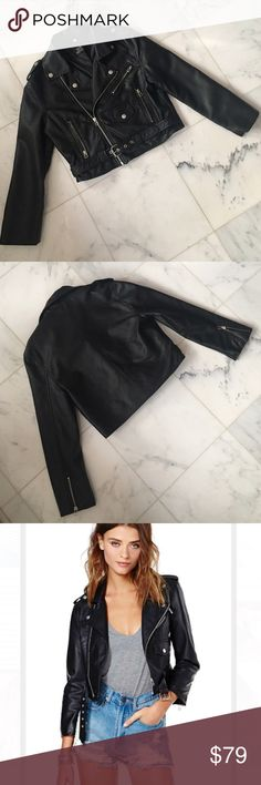 """•new• NWOT tobi faux leather cropped moto jacket Vegan leather moto jacket with 3 front zip pockets and 1 button pocket. Belted waist and zippers on the sleeves. Cropped fit. """"Idle Minds"""" brand from tobi Tobi Jackets & Coats"""