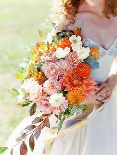 Calling all Gilmore Girls fans! Because I will assume you are a lover of fall in New England. This autumnal wedding inspiration puts a soft, whimsical spin on a color palette of burnt orange and light grey. And a bridal bouquet that just may make your hea Wedding Flower Guide, Boho Wedding Bouquet, Bride Bouquets, Bridesmaid Bouquet, Floral Wedding, Wedding Flowers, Bouquet Flowers, Trendy Wedding, Wedding Dresses
