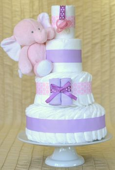 Baby Girl Diaper Cake - Lilac and Pink/White Polka Dot with Plush Pink Elephant on Etsy, $75.00