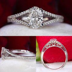 Diamond split shank ring by David Klass Jewelry.