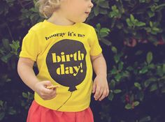 """Paperfingers """"Hooray it's my Birthday"""" toddler tee. Such a cute birthday shirt!"""