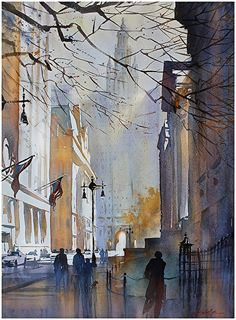 city hall - nyc by Thomas  W. Schaller Watercolor ~ 30 inches x 22 inches