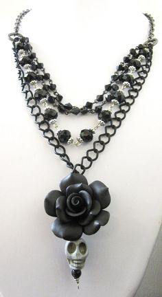 Black Gray Day Of The Dead Necklace Sugar Skull by sweetie2sweetie, $29.99