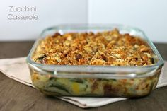 This Zucchini Casserole is creamy & delicious with a crunchy topping for just 128 calories or 3 Weight Watchers SmartPoints!
