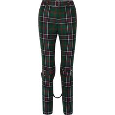 Gucci Tartan wool slim-leg pants (29.834.190 IDR) ❤ liked on Polyvore featuring pants, bottoms, gucci, plaid, emerald, wool pants, plaid pants, slim leg trousers, zip pants and slim wool pants