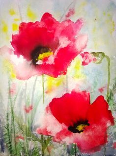 "Dreamy Poppies III - Saatchi Online Artist Karin Johannesson; Painting, ""Dreamy Poppies III"" #art"