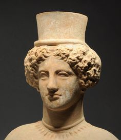 Greek very large terracotta bust of  Persephone,late 5th cent,from Sicily