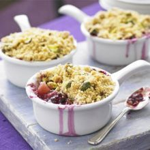 Pear & blackberry crumbles