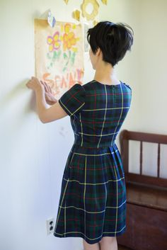 Birds of North America Clothing Woodnymph Dress Navy Plaid Made in Canada Canadian Fashion Victoire Boutique