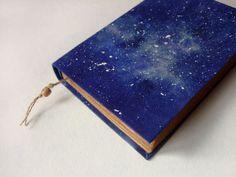 Cosmos galaxy nebula  handmade journal notebook stars by Patiak, $26.00