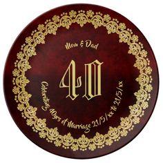 Elegant RUBY Wedding Anniversary Parents Gold Plate - anniversary cyo diy gift idea presents party celebration Wedding Anniversary Celebration, Parents Anniversary, Wedding Anniversary Gifts, Wedding Gifts, Special Text, Elegant Wedding, Gold Wedding, Red Gifts, Special Gifts