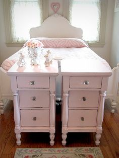 Charming Antique Pink Matching Nightstands. Can use the the mint colored ones, and distress/change hardware!