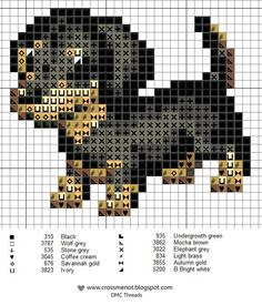 Cross stitch pattern as a Perler bead pattern – puppy dog Krista would spaz out!!! Lol