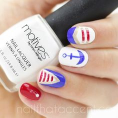 Nautical nails inspired by the gorgeous and talented @Manal Shaikh  using @motivesc